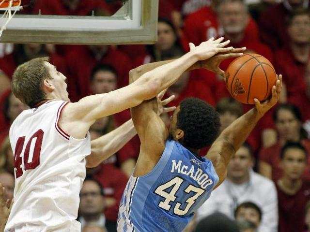 North Carolina Tar Heels forward James Michael McAdoo (43) tries to go up against Indiana Hoosiers forward Cody Zeller (40) in first half action. The North Carolina Tar Heels traveled to Bloomington, IN to take on the Indiana Hoosiers in Assembly Hall on Tuesday, November 27, 2012.<br/>Photographer: Sam Riche