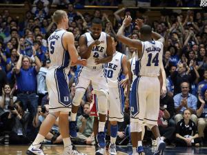 Duke players celebrate during the Blue Devils' 98-85 victory over NC State on Thursday, February 7, 2013 in Durham, NC (Photo by Jack Morton).