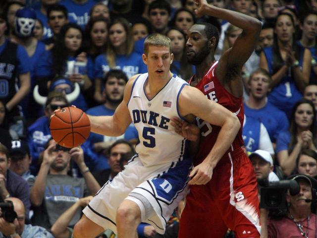 Duke's Mason Plumlee during the Blue Devils' 98-85 victory over NC State on Thursday, February 7, 2013 in Durham, NC (Photo by Jack Morton).