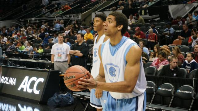 UNC's Isaiah Hicks and James Michael McAdoo during practice Thursday, March 20, 2014 at the AT&T Center in San Antonio.