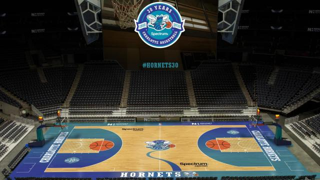 8b8f2421188c Hornets will play  Classic Nights  on throwback court    WRALSportsFan.com