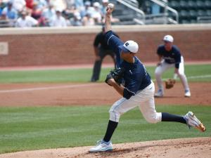 Benton Moss pitches during the UNC vs. ECU regional game on June 3, 2012 in Chapel Hill, NC.