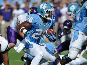 North Carolina Tar Heels running back Giovani Bernard #26 picks up another first down.North Carolina defeats East Carolina 27-6 at Kenan Stadium in Chapel Hill North Carolina.