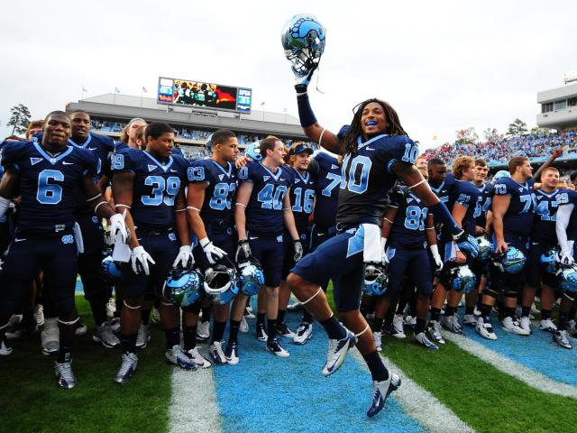 Tre Boston (10) dances after UNC defeats N.C. State, Saturday, October 27, 2012 in Chapel Hill, N.C.  <br/>Photographer: Will Bratton