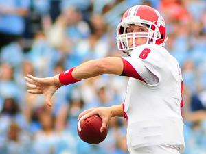 Mike Glennon (8) looks to pass during the North Carolina Tar Heels vs. N.C. State Wolfpack NCAA football game, Saturday, October 27, 2012 in Chapel Hill, N.C.