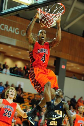 Darren White (4) dunks during the Campbell University vs. Appalachian State NCAA basketball game, Friday, November 16, 2012 in Buies Creek, NC.