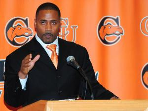 Former Carolina Panther safety Mike Minter is named the new head football head coach at Campbell University.  The announcement was made during a 3pm press conference Tuesday, November 26, 2012 in Buies Creek, NC.