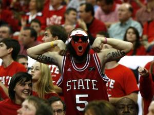 """The """"Beard Gang"""" comes out to support Richard Howell (1) and the Pack during the Duke vs. NC State game on January 12, 2013 in Raleigh, North Carolina."""