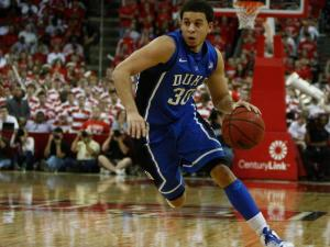 Seth Curry (30) brings the ball up during the Duke vs. NC State game on January 12, 2013 in Raleigh, North Carolina.