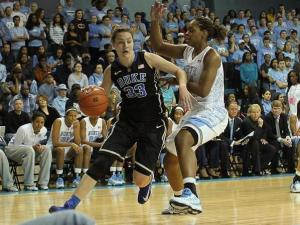 Haley Peters (33) with the ball for Duke. Duke visits UNC for a womens ACC basketball showdown. Duke leaves with a 84 to 63 victory. Photo by CHRIS BAIRD