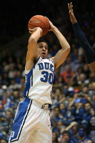 Duke's Seth Curry during the Blue Devils' 73-68 victory over North Carolina on Wednesday, February 13, 2013 in Durham, NC (Photo by Jack Morton).