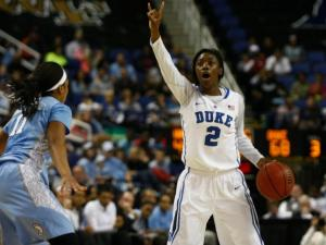 Alexis Jones (2) sets the offense during the championship game of the ACC Women's Basketball Tournament in Greensboro, N.C., Saturday, March 10, 2013.
