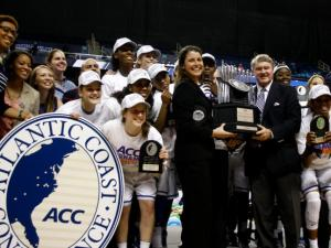 Coach Joanne McCallie and the Duke Blue Devils win the ACC Women's Basketball Tournament in Greensboro, N.C., Saturday, March 10, 2013.