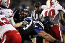 Duke's David Helton during the Blue Devils' game versus N.C. State on November 9, 2013 in Durham, NC.  Duke defeated N.C. State 38-20 (Photo by Jack Morton).