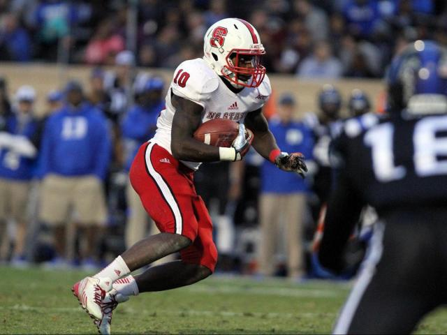 N.C. State's Shadrach Thornton during the Wolfpack's visit to Duke on November 9, 2013 in Durham, NC.  Duke defeated N.C. State 38-20 (Photo by Jack Morton).