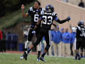 Duke's Ross Cockrell (left) and Deondre Singleton during the Blue Devils' game versus N.C. State on November 9, 2013 in Durham, NC.  Duke defeated N.C. State 38-20 (Photo by Jack Morton).
