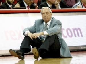 Coach Roy Williams reacts to a call at the end of the game. NC State lost to UNC in overtime, 85-84, on February 26, 2014 at the PNC arena in Raleigh, North Carolina. Photo by: Jerome Carpenter