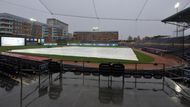 Duel at the DBAP between the NC State Wolfpack and the North Carolina Tar Heels baseball teams is postponed due to rain on April 15, 2014 in Durham, NC. (Will Bratton/WRAL contributor)