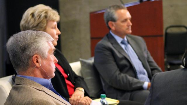 Athletic directors (from left): Kevin White of Duke University, Debbie Yow of NC State and Bubba Cunningham of UNC.