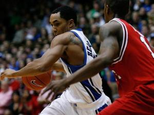 Duke's Gerald Henderson moves the ball against Gavin Grant and N.C. State on January 31, 2008.