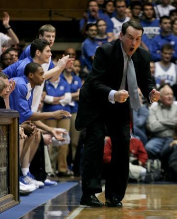 Duke head basketball coach Mike Zrzyzewski shouts toward the floor in the Blue Devils' contest against Georgetown in Durham.