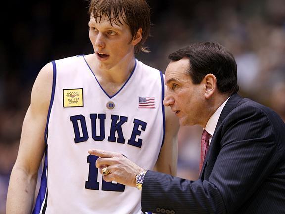 Duke head coach Mike Krzyzewski talks with Kyle Singler on February 4, 2010.<br/>Photographer: Jeff Reeves