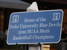 Durham celebrated the national championships won by the Durham Bulls and the Duke University men's basketball team on Thursday, April 15, 2010.