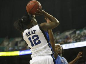 Duke's Chelsea Gray (12) takes a jumper during the Women's ACC Tournament Championship game Sunday, March 6, 2011 in Greensboro.