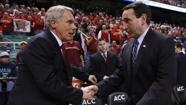 Maryland head coach Gary Williams shakes hands with Duke head coach Mike Krzyzewski in Greensboro, NC on March 11, 2011.