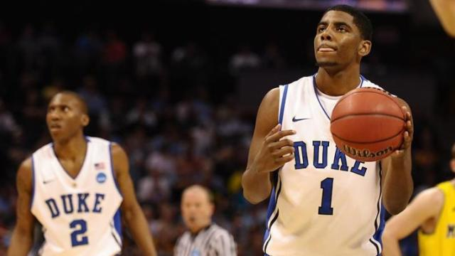 March 20 2011: Duke guard Kyrie Irving (1) at the free throw line during a game between the Michigan Wolverines and the Duke Blue Devils in the Third Round of the NCAA Division I Men's Basketball Championship at the Time Warner Cable Arena in Charlotte, NC. Duke won 73-71.