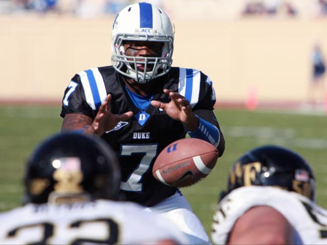 Duke quarterback Anthony Boone during Wake's 24-23 victory at Duke on Saturday, October 22, 2011 (Photo by Jack Morton).