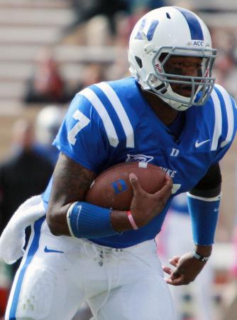 Duke's Anthony Boone during the Devils' 14-10 loss to Virginia Tech on Saturday, October 29, 2011 (Photo by Jack Morton).