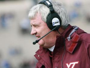 Virginia Tech's coach Frank Beamer during the Hokies' 14-10 victory over Duke on Saturday, October 29, 2011 (Photo by Jack Morton).
