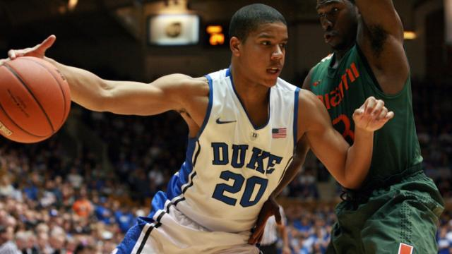 Duke's Andre Dawkins during the Devils' 78-74 overtime loss to Miami on Sunday, February 5, 2012 in Durham, NC (Photo by Jack Morton).