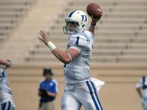 Duke's Thomas Sirk (1) during the 2012 spring football game at Wallace Wade Stadium on Saturday, March 31, 2012 in Durham, N.C. (Photo by Jack Morton).
