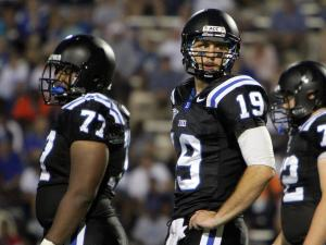 Duke's Sean Renfree and mates during the Blue Devils' 54-17 victory over in-town rival North Carolina Central on Saturday, September 15, 2012 in Durham, NC (photo by Jack Morton).
