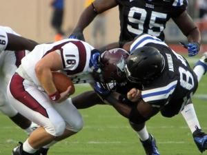 Duke's Kenny Anunike gets a sack during the Blue Devils' game against in-town rival North Carolina Central on Saturday, September 15, 2012 in Durham, NC (photo by Jack Morton).