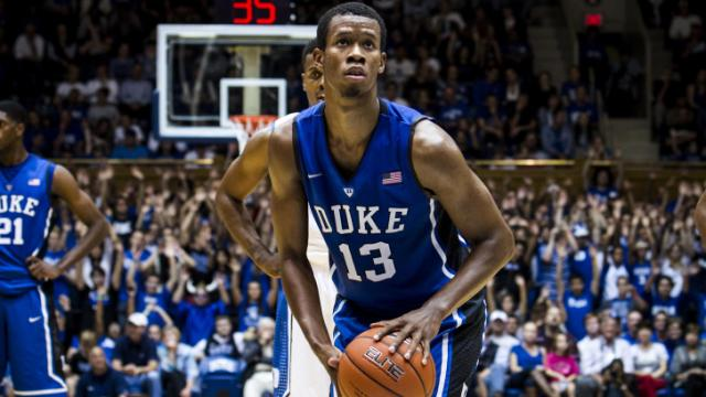 FILE: Rodney Hood, 13, forward, prepares to shoot a free throw at Cameron Indoor Stadium during Duke University's Countdown to Craziness on October 19, 2012.