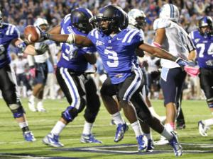 Duke's #3 Jamison Crowder catches the game winning touchdown with 16 seconds to play as Duke comes back to defeat UNC 33 to 30 Saturday night October 20, 2012. (Photo by Jack Tarr)