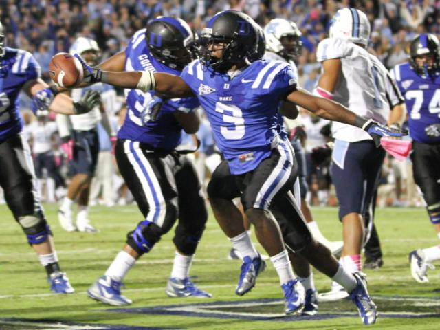 FILE: Duke's #3 Jamison Crowder catches the game winning touchdown with 16 seconds to play as Duke comes back to defeat UNC 33 to 30 Saturday night October 20, 2012. (Photo by Jack Tarr)