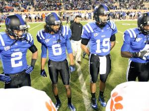 Duke's captains prior to the Devils' game versus Clemson on Saturday, November 3, 2012 in Durham, NC (Photo by Jack Morton).