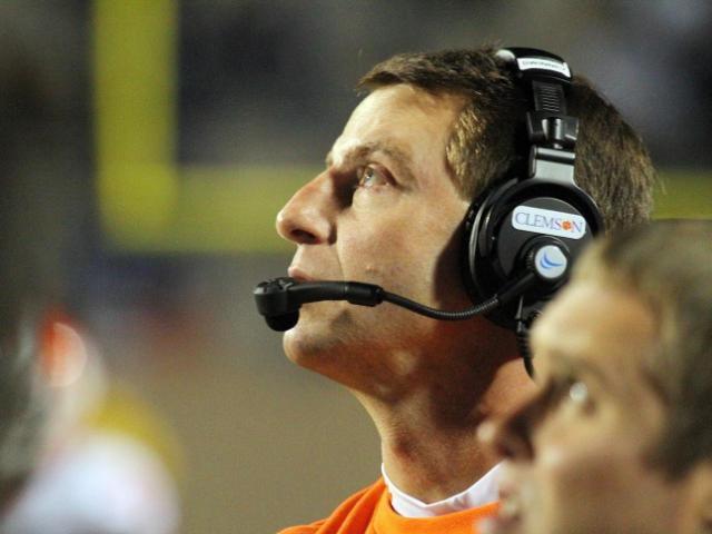 FILE: Clemson coach Dabo Swinney during the Tigers' game at Duke on Saturday, November 3, 2012 in Durham, NC (Photo by Jack Morton).