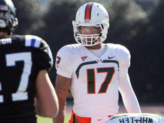 Miami's Stephen Morris during the Hurricanes' 52-45 win over Duke on Saturday, November 24, 2012 in Durham, NC (Photo by Jack Morton).