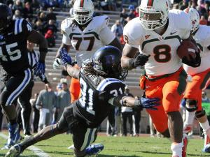 Miami's Duke Johnson runs for a touchdown during the Hurricanes' 52-45 win over Duke on Saturday, November 24, 2012 in Durham, NC (Photo by Jack Morton).
