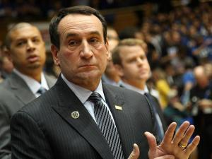 Duke coach Mike Krzyzewski prior to the Devils' 73-68 win over Ohio State on Wednesday, November 28, 2012 in Durham, NC (Photo by Jack Morton).