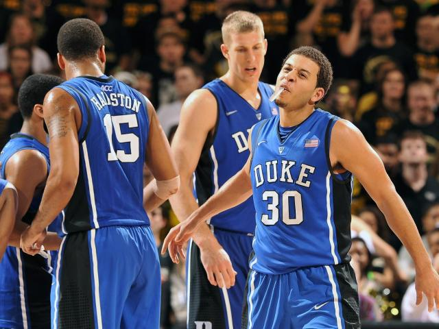 Duke Blue Devils guard Seth Curry (30) celebrates near the end of a game against the Wake Forest Demon Deacons at Lawrence Joel Coliseum on January 30, 2013 in Winston Salem, NC. Duke defeated Wake Forest 75-70. (Photo by Lance King) <br/>Photographer: Lance  King