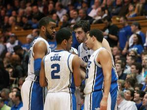 Duke's Ryan Kelly leads a huddle during the Blue Devils' 85-57 victory over Virginia Tech on Tuesday, March 5, 2013 in Durham, NC (Photo by Jack Morton).