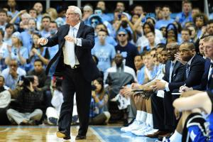 UNC head coach Roy Williams reacts to a call during the North Carolina Tar Heels vs. Duke Blue Devils NCAA basketball game, Saturday, March 9, 2013 in Chapel Hill, NC.