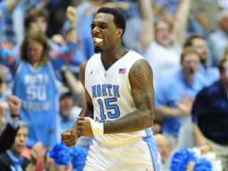 P.J. Hairston (15) reacts to a play during the North Carolina Tar Heels vs. Duke Blue Devils NCAA basketball game, Saturday, March 9, 2013 in Chapel Hill, NC.