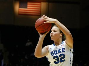 Tricia Liston (32) shoots a three pointer during the first round game of the NCAA Women's Basketball Tournament between Hampton and Duke in Durham, N.C., Sunday, March 24, 2013.